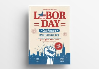 Labor Day Flyer Layout with Victorious Fist Illustration
