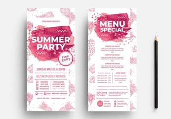 Pink Summer DL Flyer Layout with Pineapple Illustrations