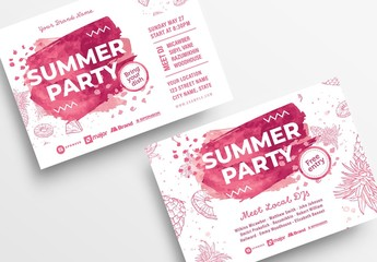 Summer Party Flyer Layout with Pink Illustrations