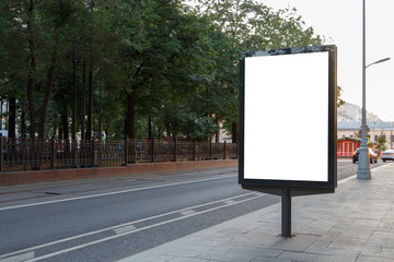 Photo sur Toile Con. ancienne Billboard vertical on the sidewalk next to the road. Mock-up.
