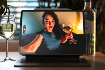 Woman Talking From Tablet By Video Chat To Her Friend And Drinking Wine. Online Date, Meeting With Friends. Stay Home. Social Distance. 3d rendering