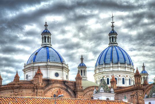 Cathedral of la Inmaculada Concepción, in downtown Cuenca, UNESCO World heritage site, Ecuador, on a sunny beautiful morning.