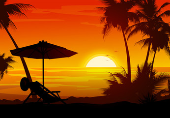 palm trees and the beach of a orange sunset sun