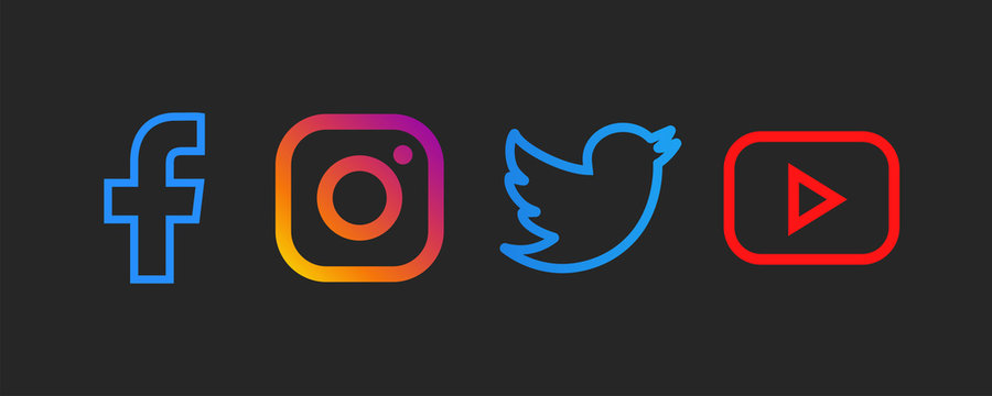 Facebook, instagram, twitter, youtube - Collection of popular social media logo. Black background. Editorial vector. Kyiv, Ukraine - May 13, 2020