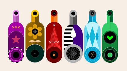 A row of six different colored bottles isolated on a light background, decorative modern design, vector illustration.