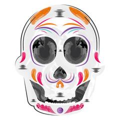Poster Aquarel Schedel Decorated mexican skull