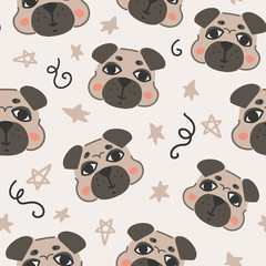 Funny seamless pattern with cute pug dogs and stars for wallpaper, wrapping paper, coverage, textile, fabric, kids clothes print and other design. Flat vector hand drawn illustration.
