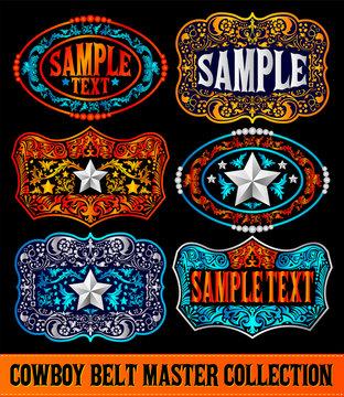 Western Style Cowboy Belt Buckle Label Master Collection Set.