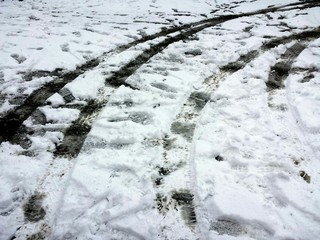 Close-up Of Tire Marks On Snow