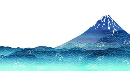 富士山 海 波 背景