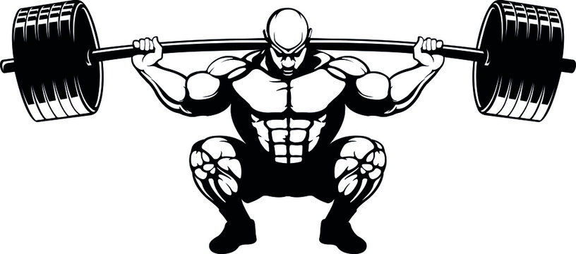 Weightlifter squat lift in ass to grass position
