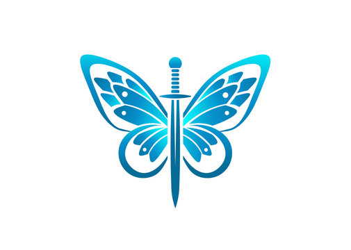 Sword and butterfly wings color logo vector template illustration