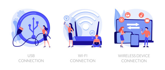Remote connected devices. Wireless Internet router, modem, data storage device. USB connection, Wi-Fi connection, distance device connection metaphors. Vector isolated concept metaphor illustrations.