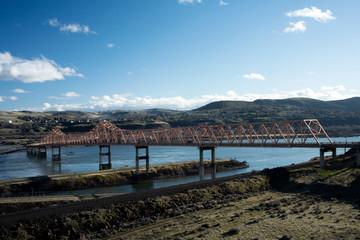 The Salmon Bridge in The Dalles, Oregon in the Columbia Gorge, Taken in Winter