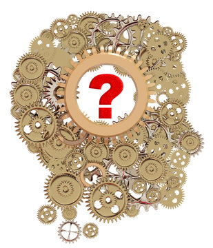brain of gears and question mark, what is in your mind psychology - 3d rendering