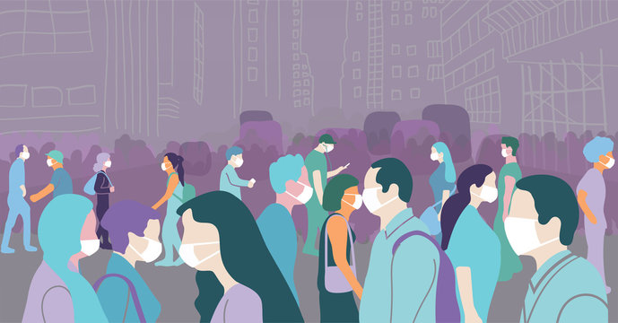 Concept abstract art of crowd walking in a large city during covid-19 pandemic wearing face mask to protect themselves.