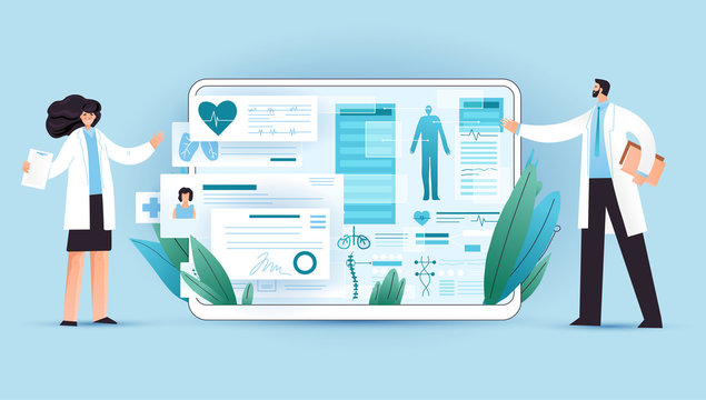 Medical full body screening results on tablet, healthcare device with professional doctors explaining it. Professional medical test for patient using medical apps on a digital tablet, vector concept