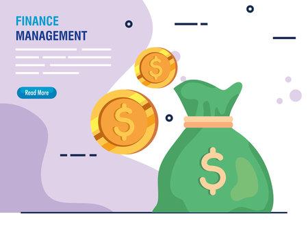 finance management money bag with coins vector illustration design