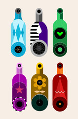 Set of six different colored bottles on a light background, decorative modern design, vector illustration. Vertical composition.