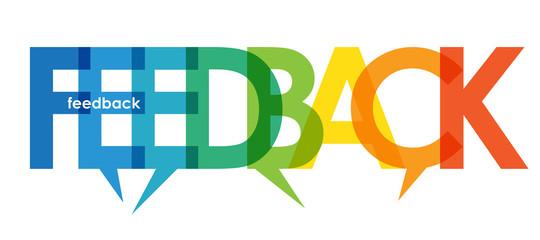 Zelfklevend Fotobehang Positive Typography FEEDBACK colorful gradient vector typography with BLANK symbol