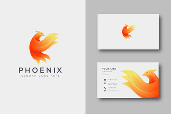 Modern brave phoenix logo icon and business card template