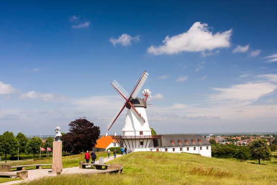 Dybbøl Mølle Windmill, museum and significant Danish memorial on the cultural heritage managed battlefields of 1864 near Sønderborg, Denmark, Europe