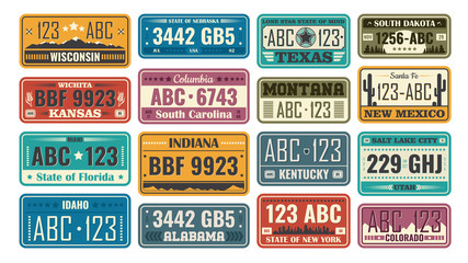 USA license plate set. Retro plastic or metal badges designed according to state, car numbers samples. Vector illustration for American automobile, travel, vehicle registration concept