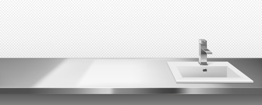 Ceramics sink with metal faucet for kitchen or bathroom on steel countertop surface front or top view isolated on transparent background. Interior frame with stainless desk, Realistic 3d vector border