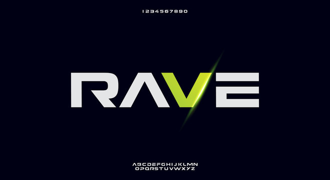 Rave, a bold modern sporty typography alphabet font. vector illustration design