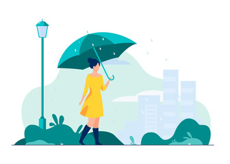 Young girl with orange umbrella flat vector illustration. Woman walking in rainy weather in park. City buildings on background. Rain season. Autumn and landscape concept. Fotobehang
