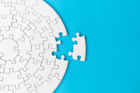 Jigsaw puzzle with missing piece. Completing final task, missing jigsaw puzzle pieces and business concept with a puzzle piece missing.