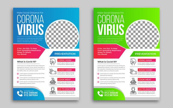 Coronavirus Prevention Flyer Design Template Blue and Green