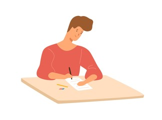 Smiling male student sitting at desk writing school test vector flat illustration. Colorful happy guy at college examination isolated on white background. Happy teenager at table in university