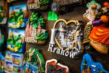 Colorful tourist souvenirs on a market in Krakow
