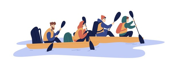 Active friends rafting on boat at river vector flat illustration. Group of backpack people enjoying extreme lifestyle isolated on white. Man and woman hold paddle floating on water together