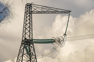 Support for an overhead high-voltage power line with a voltage of 750 kV