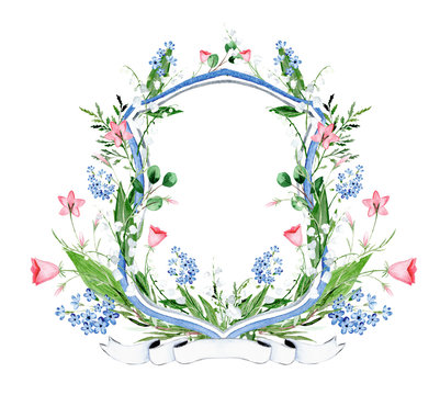 Watercolor floral crest. Lily of the valley and wild flowers crest.