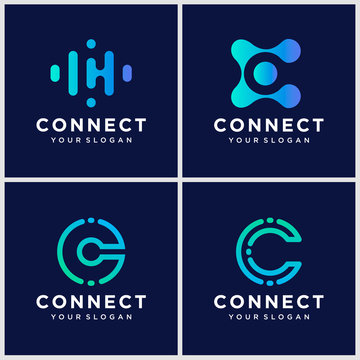 creative letter C logo design template with connect concept.