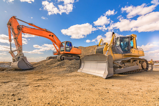 Various machinery and equipment for road construction or civil engineering