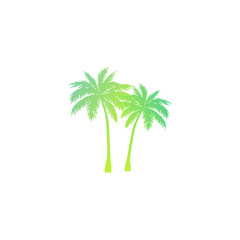 Palm tree silhouette - gradient iso design. Two exotic palm trees vector icon