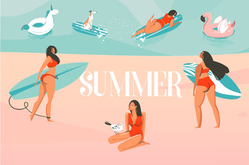 Hand drawn vector stock abstract graphic illustration with a sunbathing people group,surfing on ocean beach landscape and Summer typography text isolated on colour background