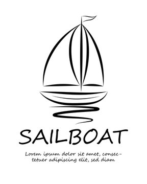 Logo line art vector of a sailboat floating on the water.