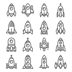 Rocket Icons Set on White Background. Line Style Vector