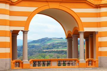 Ausblick vom Stift Melk auf die Donau Landschaft