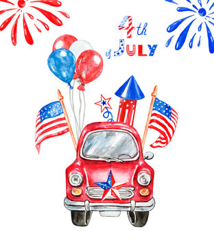 Watercolor hand painted patriotic red car with US flags, red, white and blue balloons, firecracker, salutes, stars. Decorative banner with symbols of 4th of July. Holiday card. Cartoon illustration