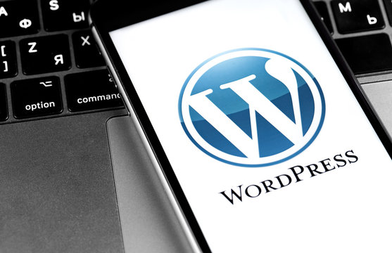 WordPress logo on the screen smartphone closeup. WordPress - open source site content management system. Moscow, Russia - March 24, 2020