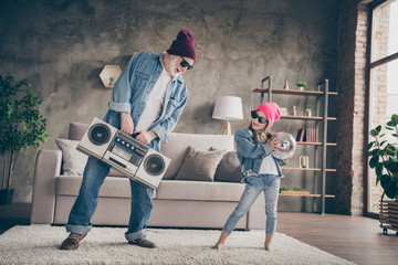 Photo of two people funky grandpa small granddaughter cool stylish trendy sun specs denim clothes...