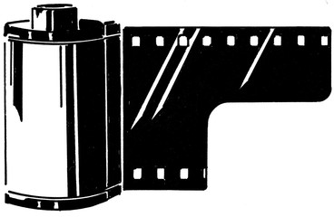 Illustration 35mm film roll isolated on white background in black and white