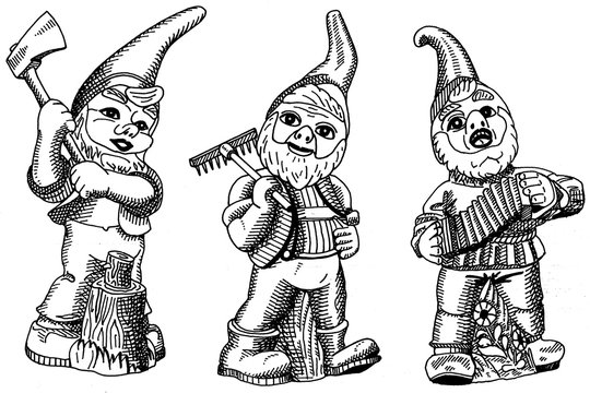 Illustration of three Classic Garden Gnomes isolated on white in black and white