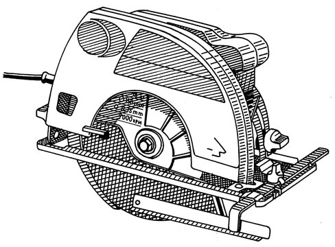 Illustration of a Circular saw isolated on white background in black and white